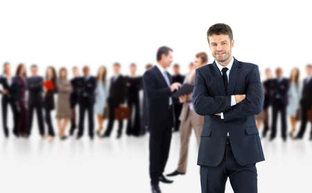 co workers: business man and his team isolated over a white background Stock Photo