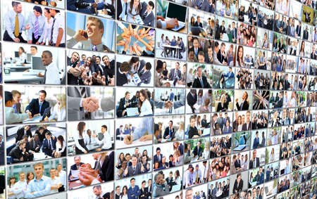 Business people group collage background photo