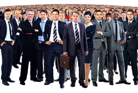business team formed of young businessmen and businesswomen standing over a white background photo