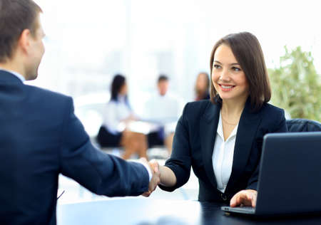Two professional business people shaking hands Banco de Imagens