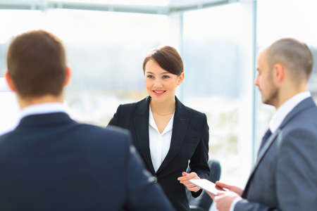 woman business suit: Business people Meeting In Modern Office