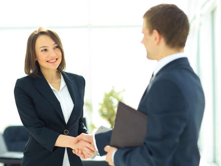 professional people: Two professional business people shaking hands Stock Photo