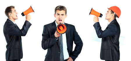 business man screaming loudly in a megaphone photo
