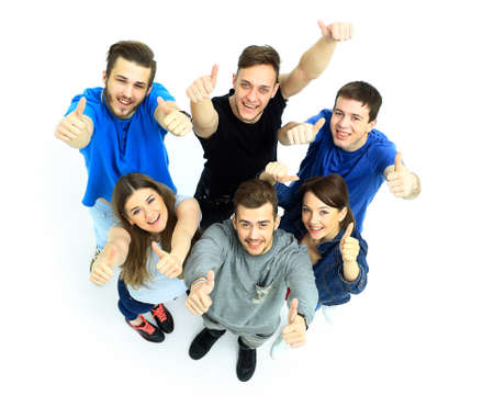 up view: Happy joyful group of friends cheering isolated on white background