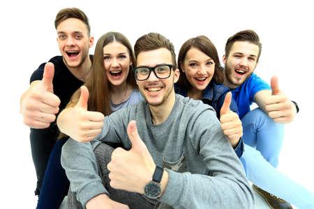hispanic students: Happy joyful group of friends cheering isolated on white background