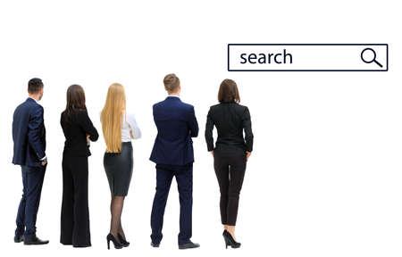 ビジネス チームのグループの見解をバックアップします。白い背景上に分離。