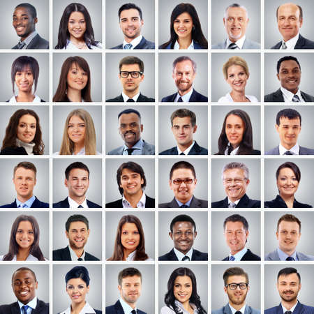 成功のコンセプト - 多くのビジネス人々 の肖像画のコラージュ