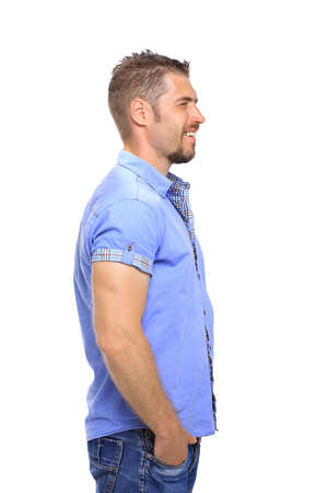 informal clothing: Portrait of casual  man looking away and smile Stock Photo