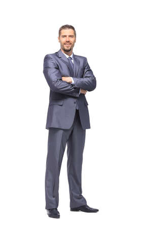 business in hand: Successful business man on white background
