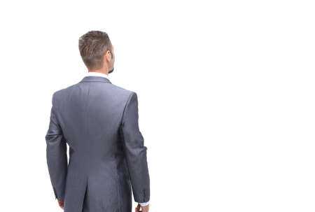 back view: Business man looking at something  isolated on white background Stock Photo