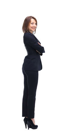 confident business woman: Business woman stand profile with white wall background Stock Photo