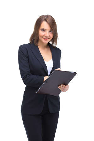 professional woman: Portrait of young happy smiling businesswoman with  folder, isolated against white background