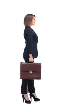 business briefcase: Profile of businesswoman with suitcase, isolated on white.