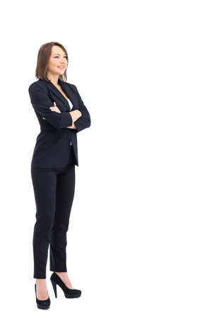 perfil de mujer rostro: mujer de negocios de pie con el perfil de la pared de fondo blanco