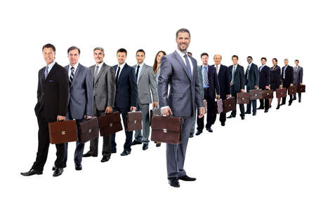 single line: Business team with their  briefcase  in a single line against white background