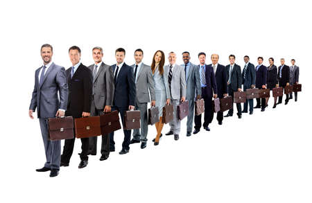 long queue of businesspeople with their briefcase