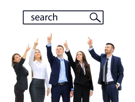 businessteamwork: Business people pointing at search line