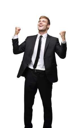 Happy energetic business man isolated on white Stock Photo