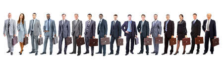 Business team with briefcase  in a single line against white background
