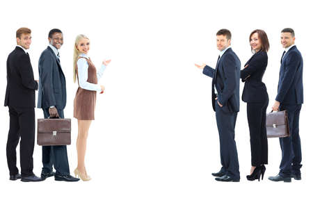 observers: Collage with happy smiling young business people showing blank area
