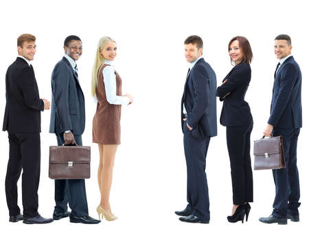 businessteamwork: Collage with happy smiling young business people showing blank area