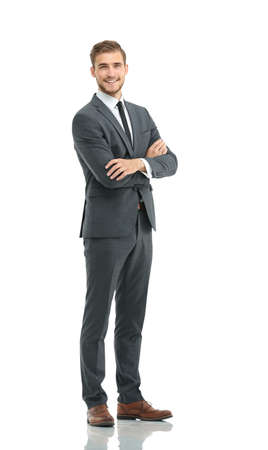 Attractive business  man with arms folded on white background Stock Photo