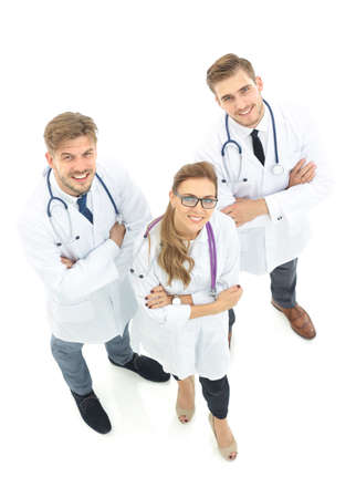 Portrait of group of smiling hospital colleagues standing together. High view