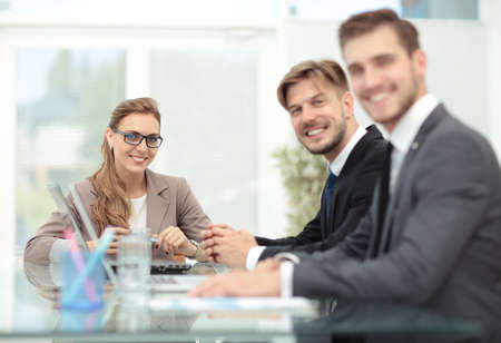 happy workers: Business meeting at the table with computer Stock Photo
