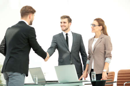 business partners: Successful business partners   working in an office Stock Photo