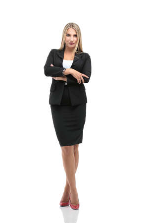 business attire teacher: Portrait of young happy smiling businesswoman isolated against white background