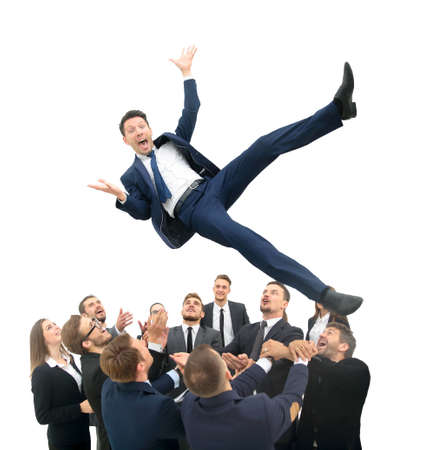 personas saltando: Group of jubilant business people jumping for joy and shouting in their excitement at their success isolated on white Foto de archivo