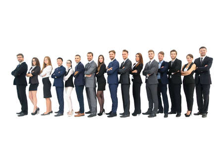 colleagues: Business group in a row isolated over a white background