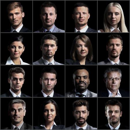 Collage de retratos de hombres de negocios