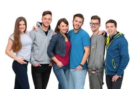 jovenes felices: joven grupo de gente feliz de pie togethe