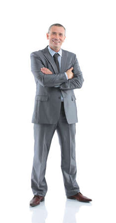 executive assistants: closeup of happy successful businessman in a business suit hands folded in front of him on a white background. the photo has a blank for your text