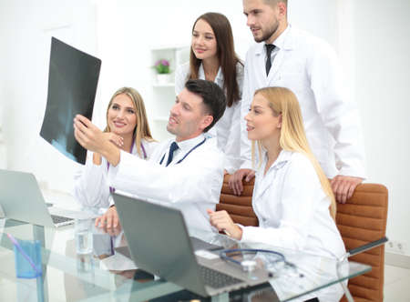 physiotherapists: Group of medical staff smiling at the hospital Stock Photo
