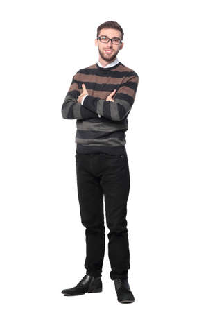 cuerpo hombre: Full body portrait of happy smiling young business man, isolated on white background Foto de archivo