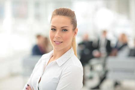 Portrait de sourire heureux femme d'affaires Banque d'images