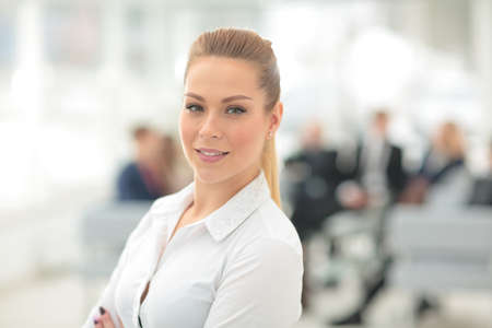 woman smiling: Portrait of happy smiling  business woman