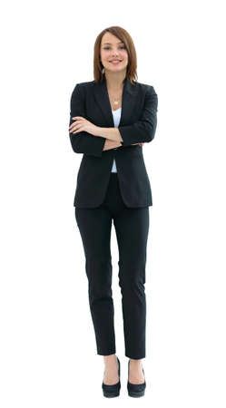 self assurance: Full body portrait of a confident business woman isolated on a white background