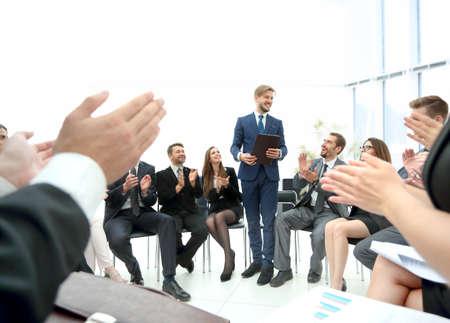 스피커 비즈니스 회의에서 회사에 게주는입니다. 비즈니스