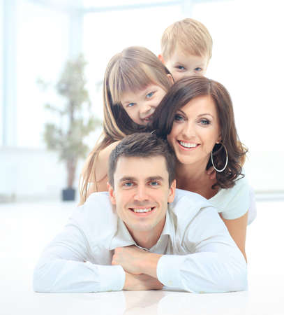 hapy: The pyramide of the smiling happy family Stock Photo