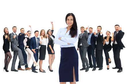 businessteamwork: happy successful business team isolated on white background