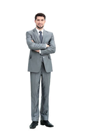 constant: portrait in full growth - is a successful businessman in a stylish gray business suit on white background