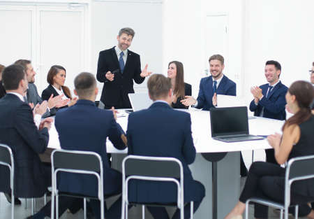 round table conference: Business people in a conference room. Stock Photo