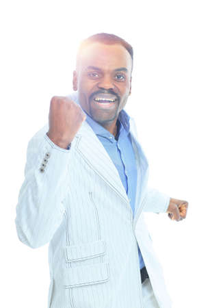 african business: happy confident young african american business male smiling with confidence.