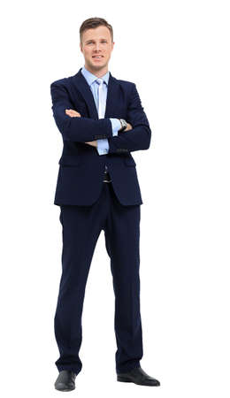 standing businessman: Young Businessman Standing Smiling Full Body Length on Isolate White Background