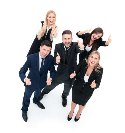 businesspeople: Smiling Happy Businesspeople Having Meeting In Office. Showing thumbs