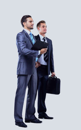 Two businessman looking at white background Stock Photo