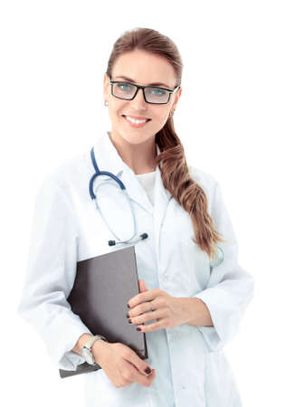 doctoring: Portrait of reliable confident  female doctor